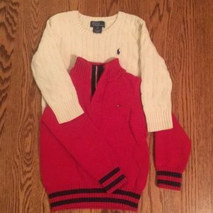 BUNDLE Polo RL white sweater and Tommy Red Sweater
